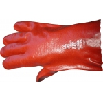Red PVC 27cm Fully Coated Gauntlet - Pair size 9.5-10 Image