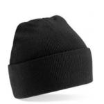 Black Cuffed Beanie Hat Image