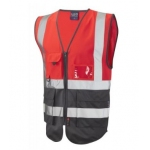 High Vis two tone executive vest Red/Grey Image