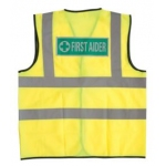 Yellow Hi Vis Vest with First Aider rear heatseal Image