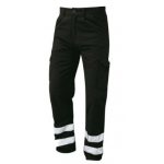 Ladies Condor Polycotton Trousers Black with 2 Reflective Stripes to Ankles  Image