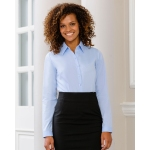 Russell Collection Ladies Long Sleeved Herringbone Shirt Image