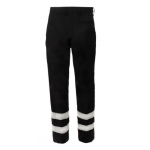 Polycotton sewn in crease trousers Navy c/w 2 hi vis bands to legs  Image